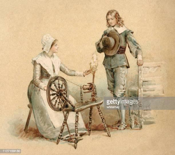 Joven mujer del siglo XVII Hilar fibras y sonriendo en un hombre joven (fondo de la punteada)