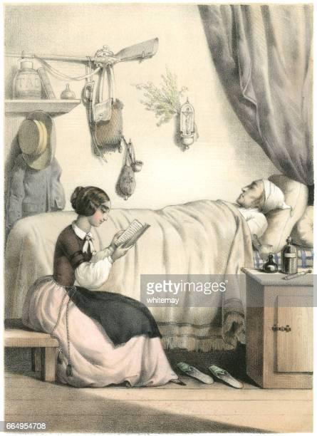 Ung 19th century franska kvinna läsande till en sjuk man