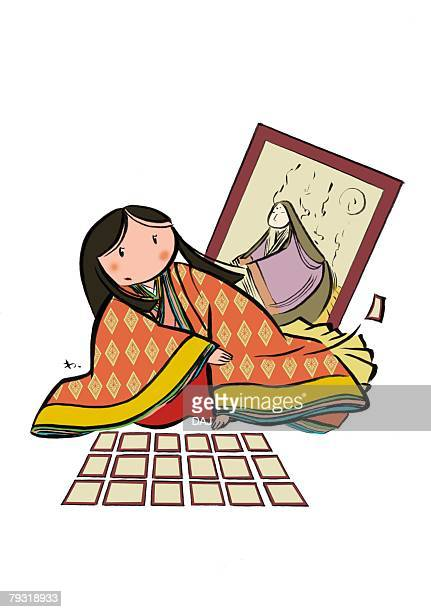 young adult woman in junihitoe sitting and playing hyakuninisshu alone, front view - junihitoe stock illustrations