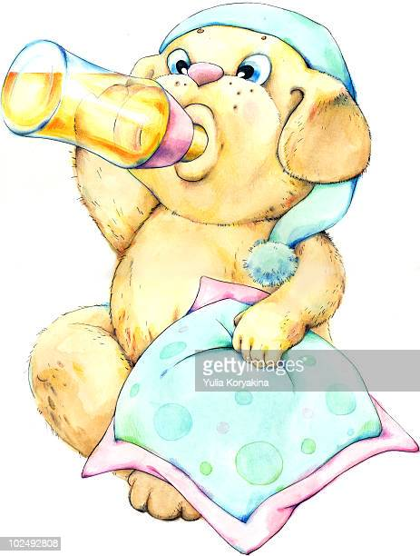 young animal drinking from baby bottle - baby blanket stock illustrations, clip art, cartoons, & icons