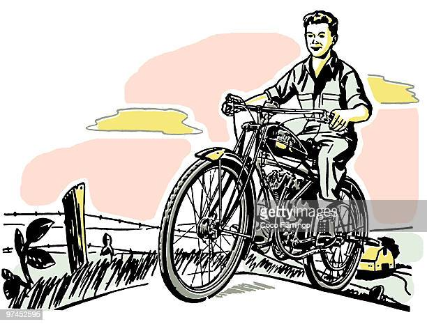 a young boy and his motorbike - paddock stock illustrations, clip art, cartoons, & icons