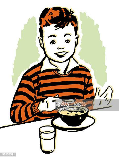 a young boy enjoying his dinner - tiziano vecellio stock illustrations, clip art, cartoons, & icons