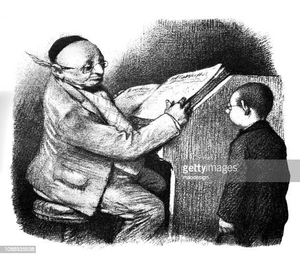 Young boy is talking to a bureaucrat - 1896