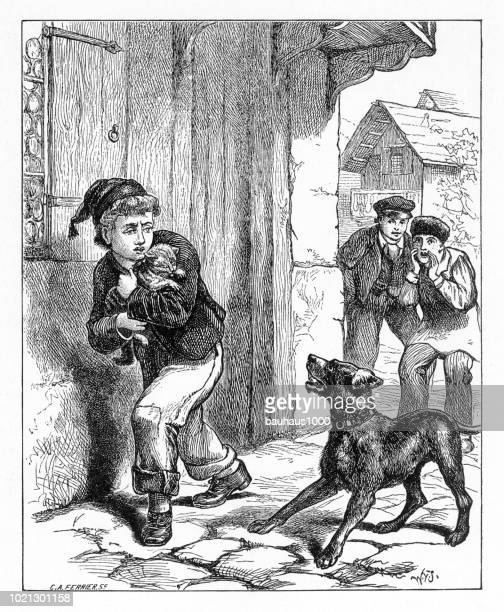 Young boy protecting his cat from a barking dog and bullies, American Victorian Engraving, 1882