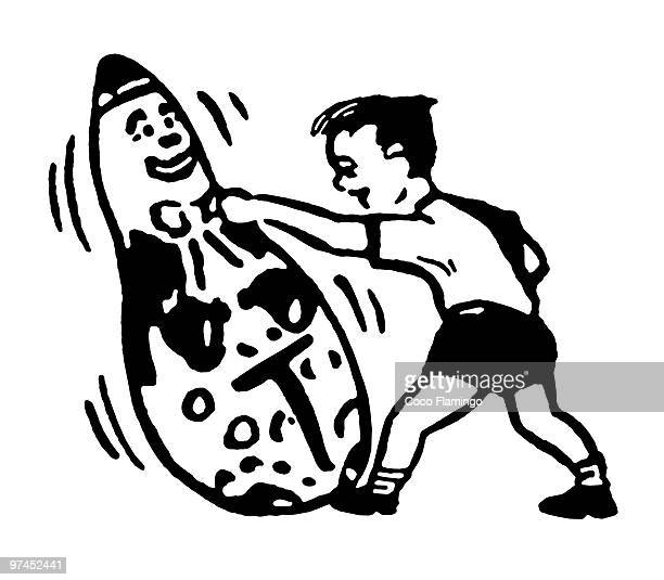 a young boy punching with a large clown - fighting stance stock illustrations, clip art, cartoons, & icons