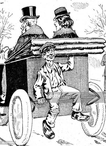 young boy sitting hidden on the back part of an automobile cabriolet - car ownership stock illustrations, clip art, cartoons, & icons