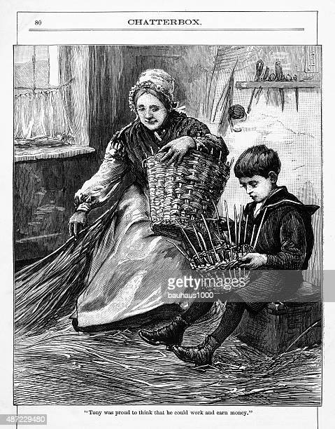 Young Boy with an Old Woman Weaving Baskets Victorian Engraving