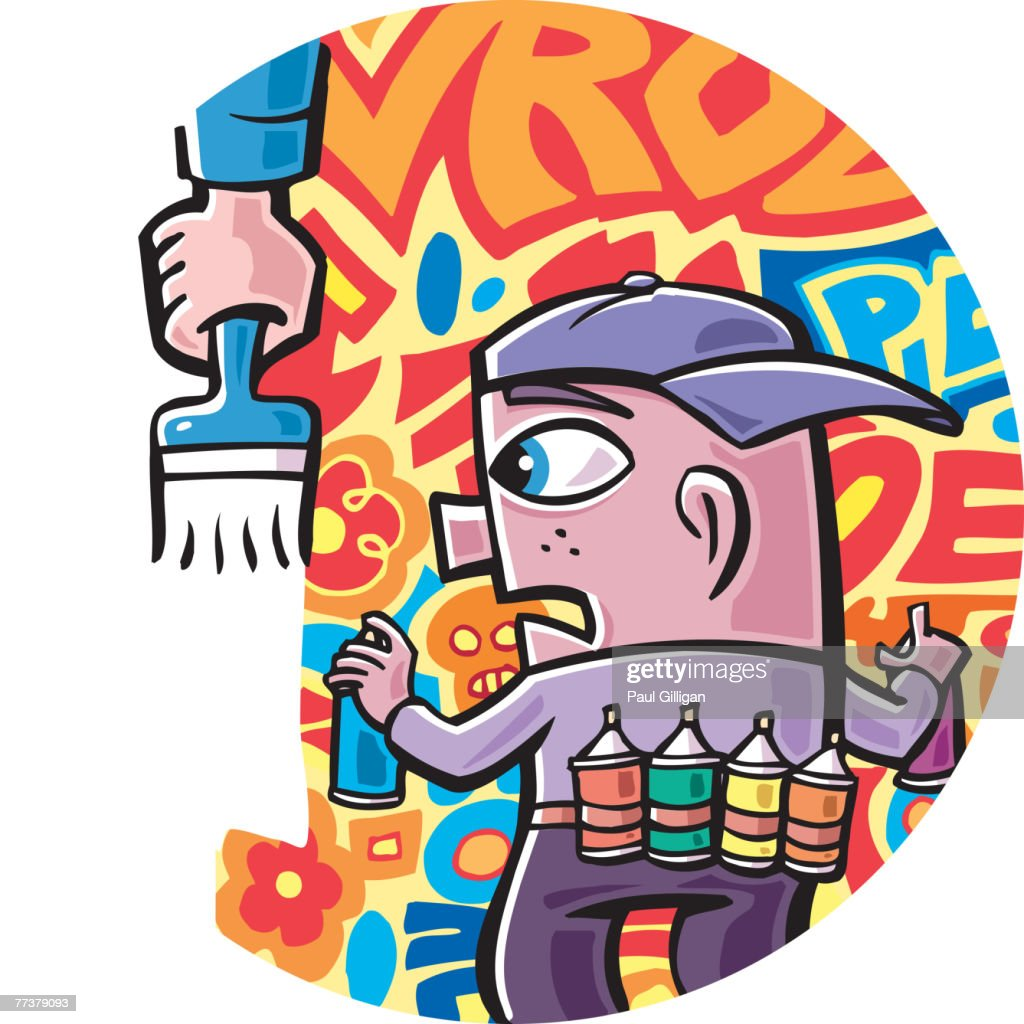 A young boy's graffiti being painted out : Illustration
