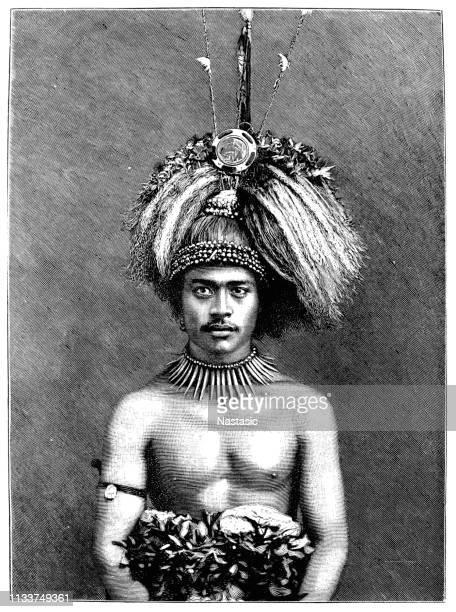 サモアのヤングチーフ、ポリネシア - 酋長点のイラスト素材/クリップアート素材/マンガ素材/アイコン素材