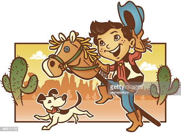 young child playing pretend cowboy with his dog - cowboy stock illustrations, clip art, cartoons, & icons