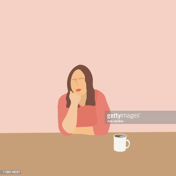 young confidence women sitting image - one young woman only stock illustrations