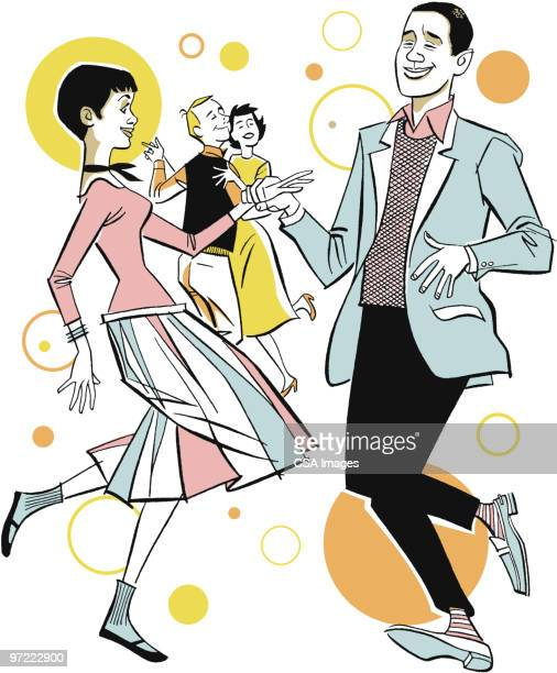 young couple dancing - friendship stock illustrations