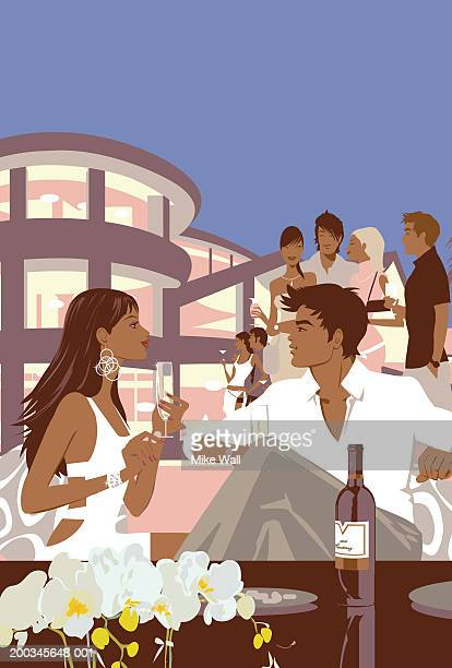 ilustrações de stock, clip art, desenhos animados e ícones de young couple drinking champagne at party - cabelo liso