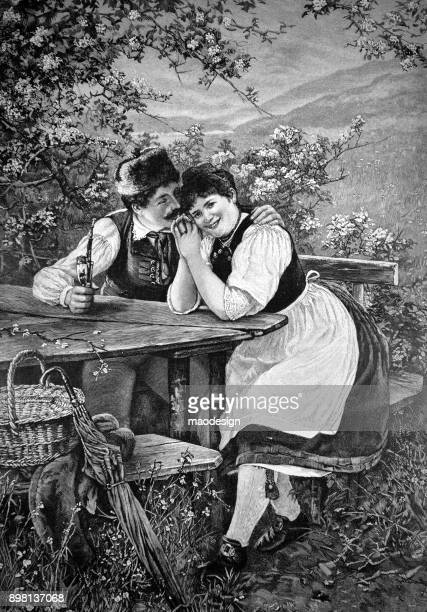 young couple in love  - 1896 - 1896 stock illustrations, clip art, cartoons, & icons