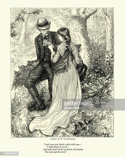 恋の若いカップル、淡い野生のバラ、ビクトリア朝、1870年代、19世紀 - ロマン主義点のイラスト素材/クリップアート素材/マンガ素材/アイコン素材
