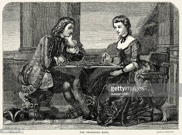 ilustraciones, imágenes clip art, dibujos animados e iconos de stock de pareja joven jugando al ajedrez, siglo xviii - tablero de ajedrez