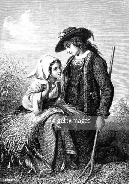 young couple sitting in wheat field during harvest - 1877 stock illustrations, clip art, cartoons, & icons