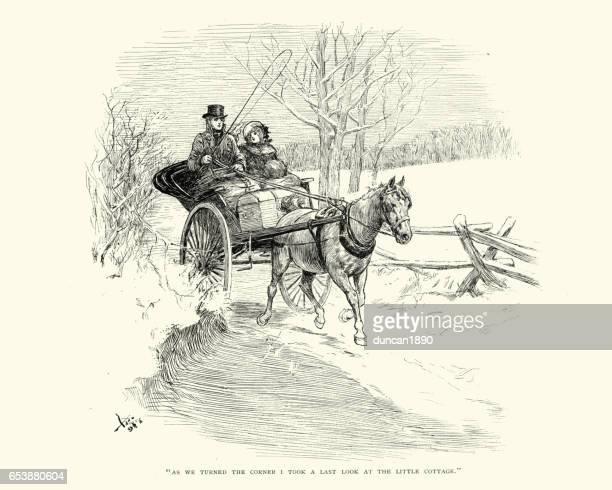 young couple travelling in a horse and buggy, 19th century - horsedrawn stock illustrations, clip art, cartoons, & icons