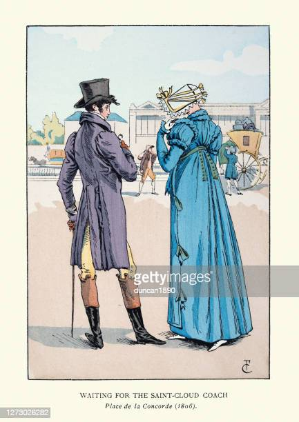 young couple waiting for coach on place de la concorde, 1800s - tail coat stock illustrations
