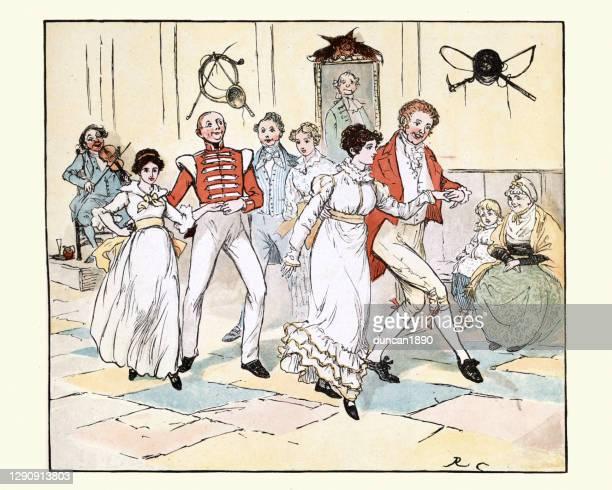 ilustraciones, imágenes clip art, dibujos animados e iconos de stock de parejas jóvenes bailando juntas, baile victoriano del siglo xix - bailar un vals