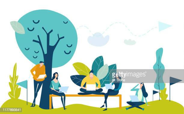 Young creating professional people working in park. Self-employments. Developing, taking a risk, support and solving the problem business concept illustration.