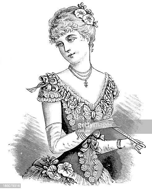 young fashionable woman - victorian engraving - beautiful woman stock illustrations