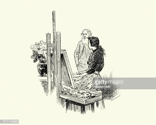 illustrazioni stock, clip art, cartoni animati e icone di tendenza di giovane artista donna e insegnante d'arte, vittoriana del xix secolo - pittore