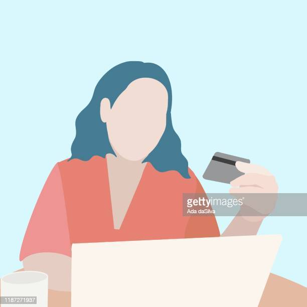 a young freelance women chacking card number - fat female cartoon characters stock illustrations