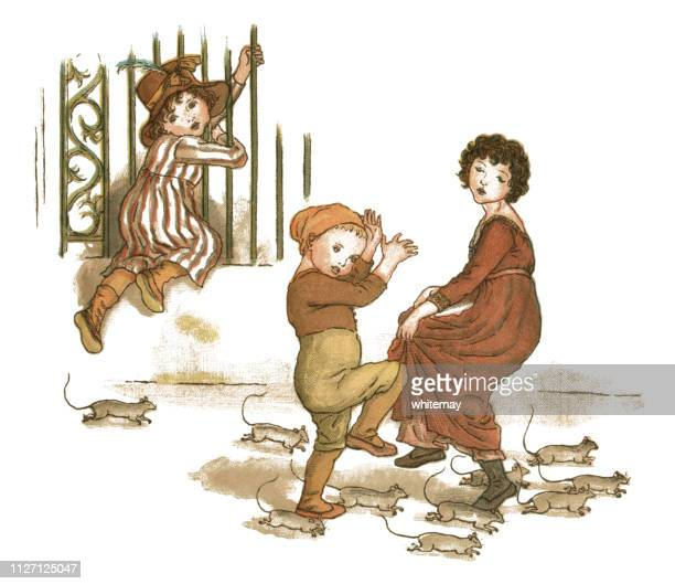 young girl and two children trying to escape from rats - infestation stock illustrations, clip art, cartoons, & icons