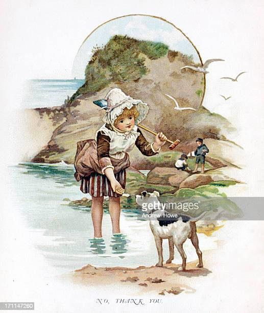 young girl at the beach illustration - hooded top stock illustrations