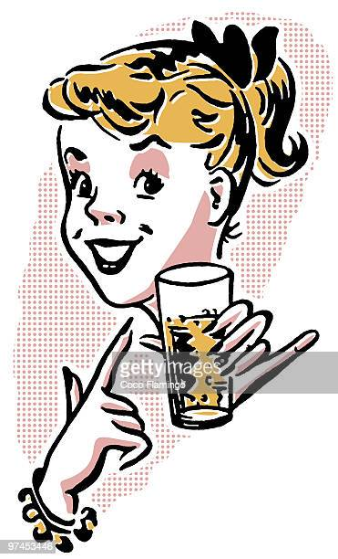 a young girl enjoying a refreshing drink - tiziano vecellio stock illustrations, clip art, cartoons, & icons