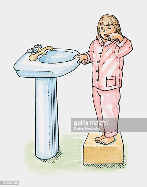 Young girl in pyjamas standing on box next to basin, brushing her teeth