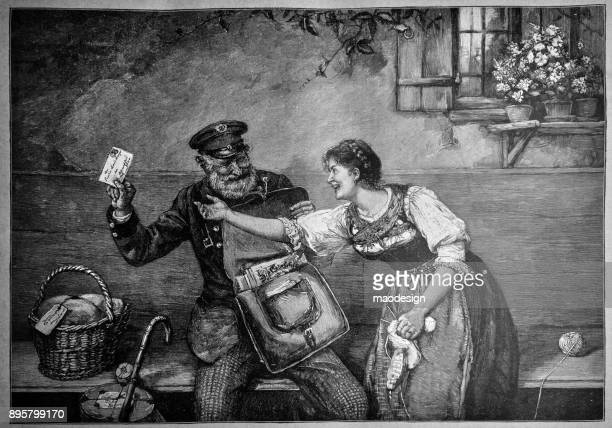 Young girl is looking forward to get the letter that the postman brought. The postman does not want to give a letter to the girlfriend while joking - 1896