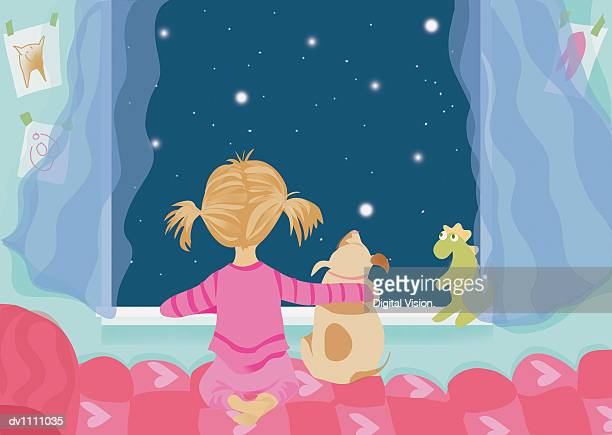 Young Girl Looking Out of Her Bedroom Window With Her Pet Dog at the Night Sky