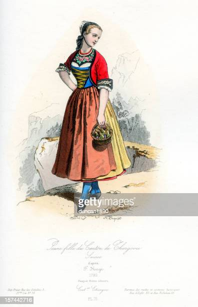 Young girl of Thurgau in traditional costume