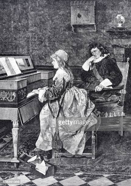 Young girl playing piano, teacher listening