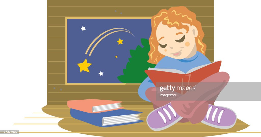 young girl reading in her treehouse : Illustration