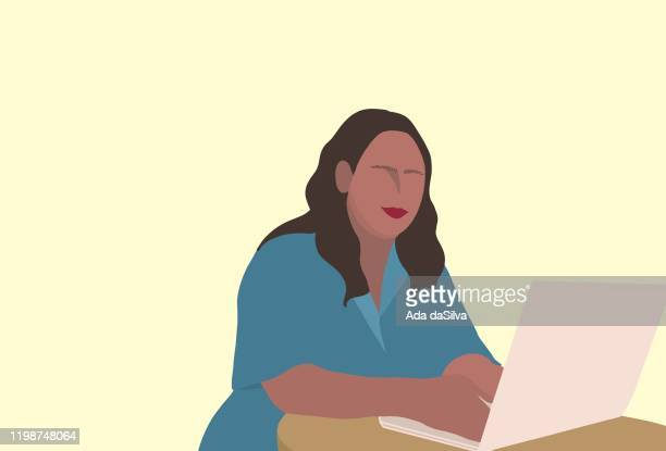 young girl using a laptop at cafe - young women stock illustrations