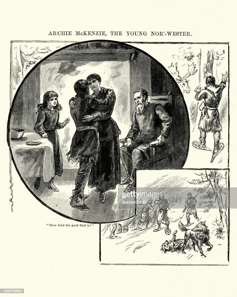 Jungjäger Heimweg von Wolfsjagd, 19. Jahrhundert : Stock-Illustration