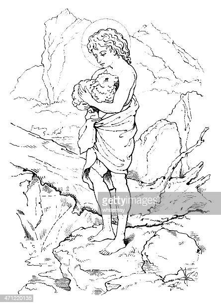 Young Jesus carrying a lamb - Victorian drawing