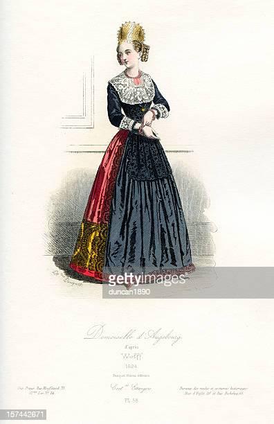 ilustrações, clipart, desenhos animados e ícones de jovem senhora de augsburg roupa de época - roupa tradicional