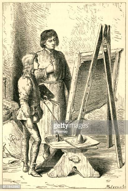 young leonardo da vinci having a painting lesson in verrocchio's studio - tuscany stock illustrations, clip art, cartoons, & icons