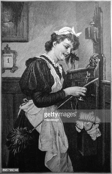 young maid is on the phone during cleaning the room - 1896 - 1896 stock illustrations, clip art, cartoons, & icons