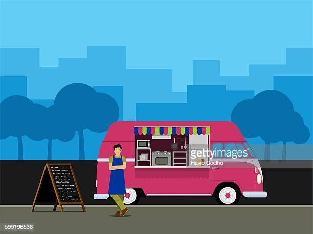 young male entrepreneur launching his own food truck business - uniform stock illustrations