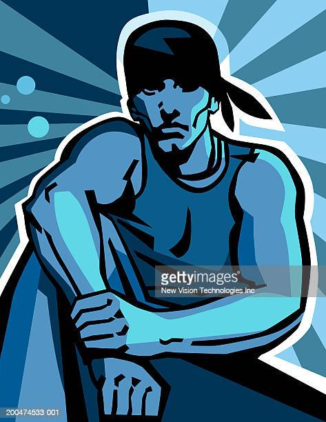 young man against abstract background - one young man only stock illustrations