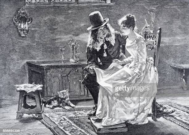 Young man and women on the chair reading newspaper together