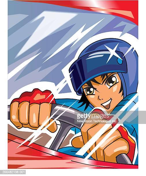 ilustraciones, imágenes clip art, dibujos animados e iconos de stock de young man driving racecar - piloto de coches de carrera