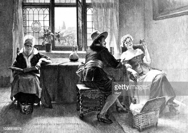 ilustraciones, imágenes clip art, dibujos animados e iconos de stock de hombre joven coquetea con una mujer joven en la sala de estar bajo la supervisión de una abuela. - personas leyendo la biblia