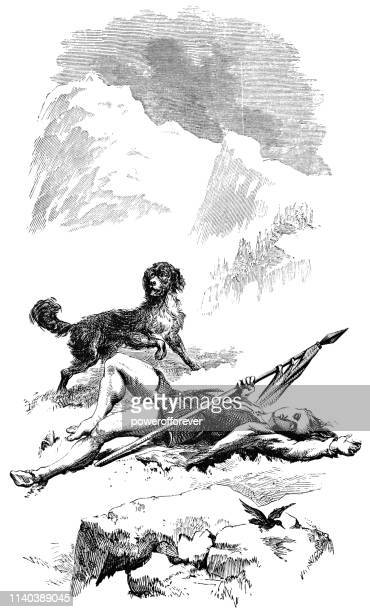 Young Man Found Lifeless by the Faithful Hound - Works of Henry Wadsworth Longfellow