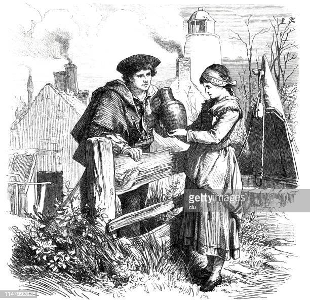 young man hands over a clay jug to a woman, in the garden, by the fence. - fountain stock illustrations, clip art, cartoons, & icons